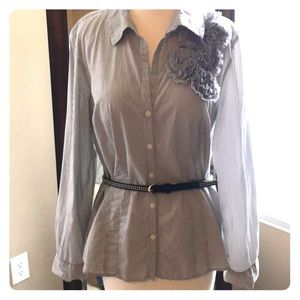 Loft size 10 button down with ruffled detail